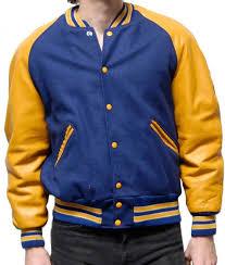 mens er varsity jacket mens letterman jacket blue wool varsity yellow leather sleeves