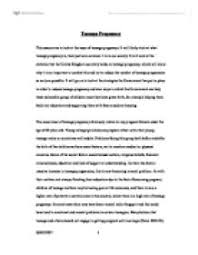 this essay aims to look at the issue of teenage pregnancy it will page 1 zoom in