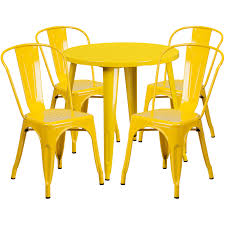 30 round yellow metal indoor outdoor table set with 4 cafe chairs