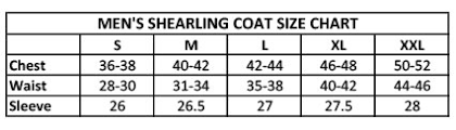 Size Content For Non Shoe Outerwear Shearling Coats 2016