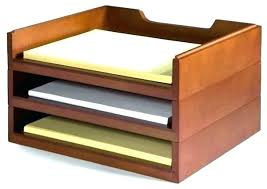 Gold Desk Organizer Stacking Wood Organizers 3 Letter Tray