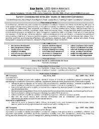 Safety Coordinator Resume Example