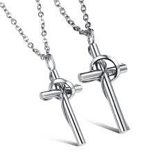 classic cross couple necklace titanium