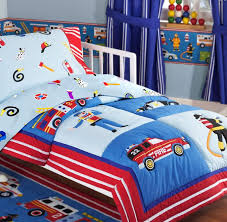 fire truck police car toddler boy bedding 4pc bed in a bag
