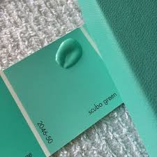 Tiffany Blue can be so difficult to match. But pick up Benjamin Moore's  Scuba Green paint swatch, and you've got a perfect point of reference.