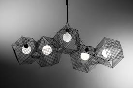 large designer lighting chandelier in black metal inspired by geometric forms