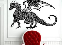 tribal tattoo classic chinese dragon wall decal sticker decor wall on chinese dragon metal wall art with dragon fire chinese oriental medieval tribal metal wall art super tech