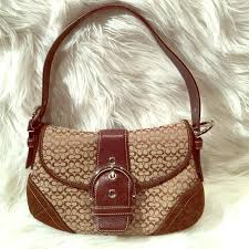 Coach brown suede and canvas logo soho hobo bag