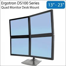 ergotron ds100 13 23 inch quad monitor lcd desk mount stand