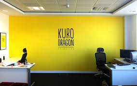office feature wall. An Impact In Their Mainly White Office A Warm Yellow Feature Wall . O