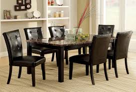 Marble Top Kitchen Table Set Furniture Of America Cm3870t Boulder I Black 7 Pieces Dining Table Set