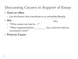 cause and effect purpose of cause and effect  purpose  discussing causes in support of essay  given an effect  list the factors that contribute
