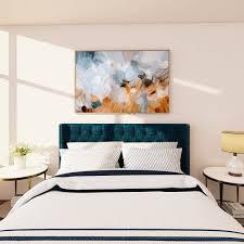 Canopy, poster, platform, storage etc. Serene Light Blue Art Over A King Bed Parima Studio Bespoke Limited Edition Art Prints
