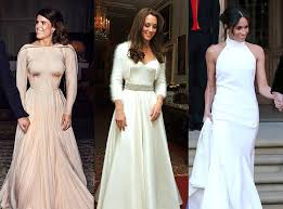 From kate middleton to princess diana. Comparing Eugenie Meghan And Kate S Wedding Evening Dresses E Online Au