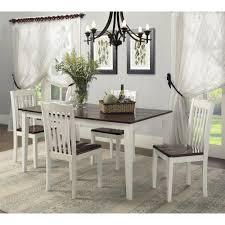dorel living shiloh 5 piece rustic dining set creamy white rustic mahogany