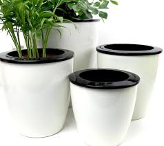 office flower pots. mkono 3pcs self watering pot automatic planter plant flower pots for desktop table floor garden office n