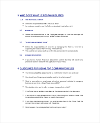Company Vehicle Use Policy Template Pccc Us
