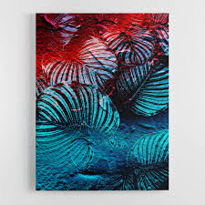 red leaves abstract wall art canvas print