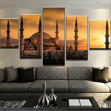 5 pieces decoration painting canvas print blue mosque pictures wall art poster home decor for living on wall art pieces decorating with 5 pieces decoration painting canvas print blue mosque pictures wall