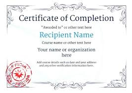 Certificate Of Training Completion Template Create Free Certificate Completion Fill In The Blank