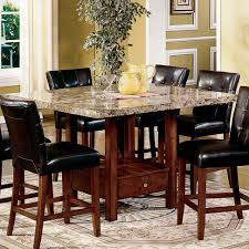 marble dining room table darling daisy:  dining room large size steve silver montibello marble top counter height storage dining table at