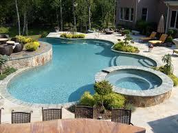 Custom Backyard Pool Designs Freeform Custom Pool With Raised Spa In 2019 Custom Pools