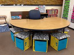 teacher table area with crate seating how to make sideways milk crate seating