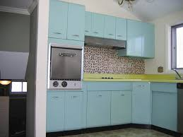Old Fashioned Kitchen Traditional Blue Retro Cabinets And Mosaic Tile Backsplash Inside