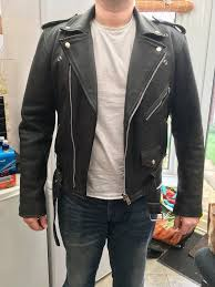 vintage leather biker style jacket
