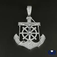 details about men s 0 65 ct diamond 14k solid white gold anchor charm pendant