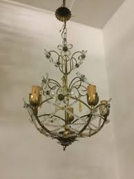 vintage chandelier with beads and crystal flowers 1