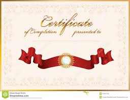 Certificates Of Completion Templates Certificate Of Completion Template Stock Vector Illustration Of