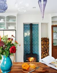 Kitchen Alcove White Modern Kitchen With Blue Tiled Alcove And Woodburning Stove