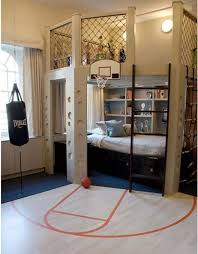 Mesmeric Interior Of Boy Room Ideas With Chic Wall Decoration Also Enticing  Sporty Basket Field Ring Plus Bunk Bed