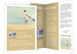 Fun Brochure Templates Healthy Father And Daughter Playing Together At The Beach Carefree Happy Fun Smiling Lifestyle Brochure Template