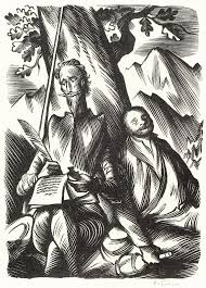 pavel Šimon a portfolio with 7 woodcuts with the adventures of don quixote don