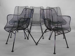 set of six wrought iron with mesh dining chairs by rus woodard for woodard company armchairs