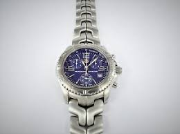 tag heuer watch mens chronograph professional link ct1110 blue as image is loading tag heuer watch mens chronograph professional link ct1110