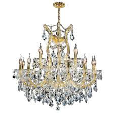 worldwide lighting maria theresa 19 light polished gold and clear crystal chandelier