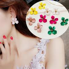 Boho Big <b>Petal Flower</b> Sliver Studs Floral Pendant Earrings Women ...