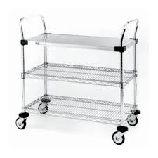 metro mw series utility cart with solid and wire shelves