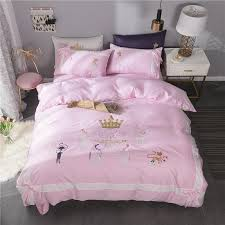 girls cute princess red pink bedding set egyptian cotton queen king size crown embroidery bed set quilt duvet cover bedsheet set full size comforter