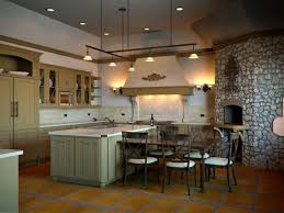 tuscan kitchen design ideas with kitchen track lighting over kitchen island with built in sink and bronze faucet also ceramic backsplash under decorative