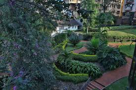 a garden outside pine lush serene apartments