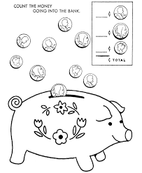 Toy Animal Coloring Pages Count The Money Piggy Bank Kids