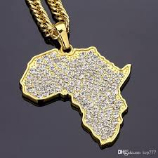 2018 classic retro hip hop map of africa pendant necklace aa rhinestone hip hop jewelry diamond necklace for men women gifts party