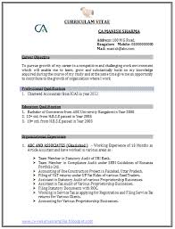 Chartered Accountant Resumes Latest Chartered Accountant Resume Free Template Sample