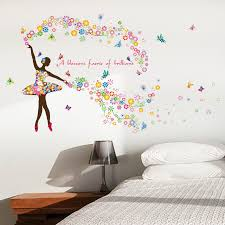 3d flower girls wall stickers for bedroom removable colorful wall deca
