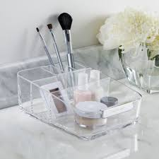 Amazon.com: Small Clear Plastic Cosmetic Organizer with Removable  Compartment | Signature Collection: Home & Kitchen