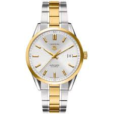 tag heuer carrera silver dial 18kt yellow gold and stainless steel tag heuer carrera 18kt yellow gold mens watch wv215d bd0788